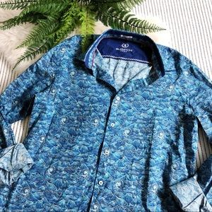 Tops - Bugatchi Blue All-Over Wave Print Shirt